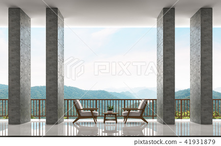 Modern loft balcony with mountain view 3d render 41931879