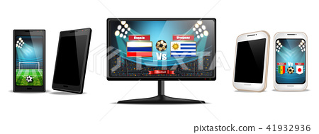 Tv screen and smartphone with football match 41932936