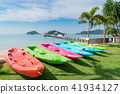 Colorful kayaks on the tropical beach in Phuket. 41934127