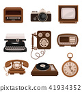 Vintage technologies set, retro radio, photo camera, tv, typewriter, payphone, vinyl player, pocket 41934352