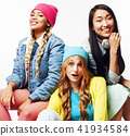 diverse nation girls group, teenage friends company cheerful having fun, happy smiling, cute posing 41934584