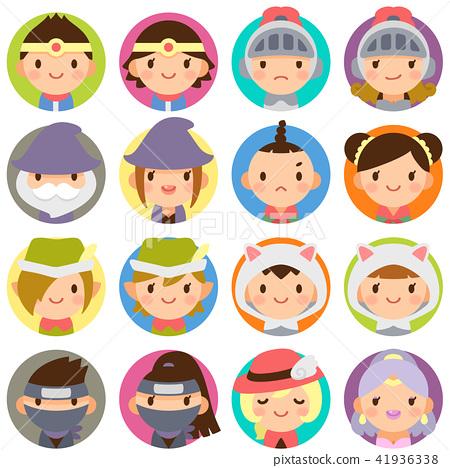 게임 캐릭터 판타지 RPG 전설의 용사 님 일행 얼굴 귀여운 원형 아이콘 세트 41936338