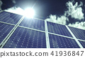Solar panels or collectors with clouds in sunlight 41936847
