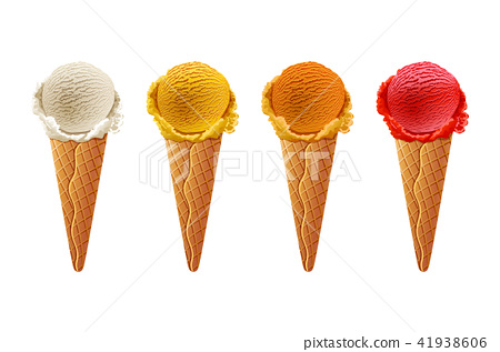 Various Ice Cream Scoops On White Background Stock