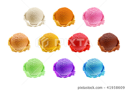ice cream scoops 10 Set of different colors vector 41938609