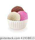 Chocolate, vanilla and strawberry milk ice cream 41938613