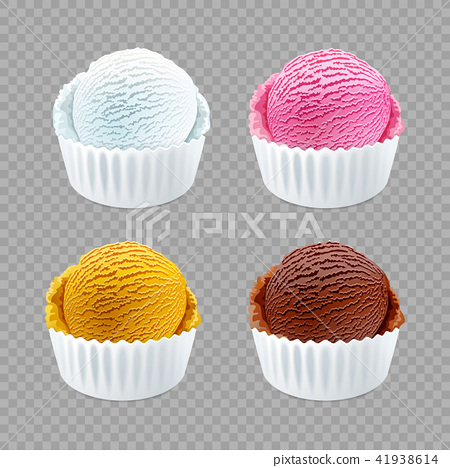 Real ice cream scoops in white cups of chocolate 41938614