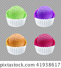 different flavor ice cream scoops side vector 41938617
