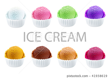 Set of ice cream scoops of different colors vector 41938619