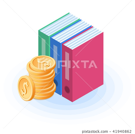 The pile of coins near the folders 41940862