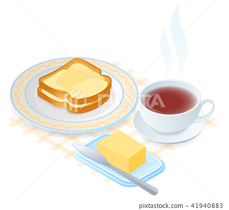 The plate with slices of bread and butter, teacup 41940883