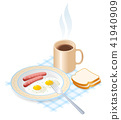 sausage, coffee, omelet 41940909