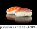 Sushi set on black. 41942893