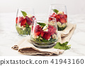Spinach salad in glass. 41943160