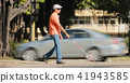 Blind Man Crossing The Road With Cars And Traffic 41943585