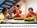 Home Dinner With Happy Family Eating Homemade Pizza 41943650