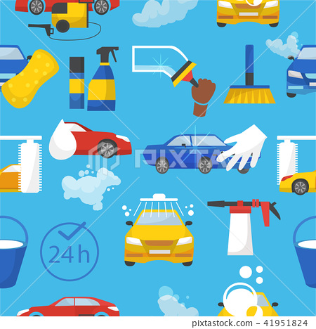 Car wash vector car-washing service with people cleaning