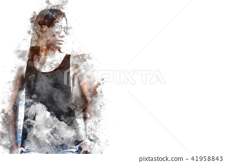 Woman body model action on watercolor painting 41958843