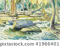 Watercolor landscape painting of river mountain. 41966401