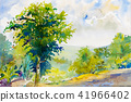 Watercolor landscape painting colorful of mountain 41966402