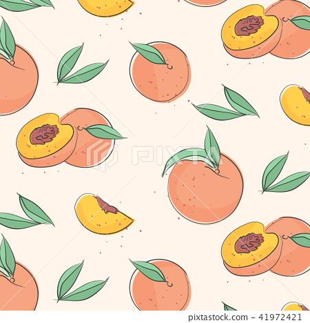 Peach macro fruit with leaves. Tropical nectarine wallpaper, juicy organic food pattern. Vitamin 41972421