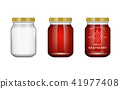 Glass jar with jam and configure with blackberry and raspberry. Vector illustration. Packaging 41977408
