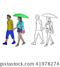 man walking with his lover with umbrella 41978274