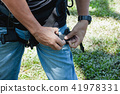 young man Asian wear safety harness. 41978331