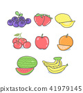 Cartoon Fruit Set and Hand drawn style 41979145