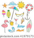 Summer elements design set with hand drawn 41979173