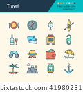 Travel icons. Filled outline design collection 12. 41980281