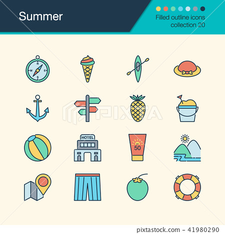 Summer icons. Filled outline design collection 20. 41980290