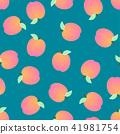 Peach Seamless on Blue Background 41981754