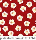 White Plum Blossom Flower on Red Background. 41981764