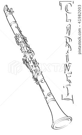 Arts sketch of drawing clarinet (black ink). 41982003