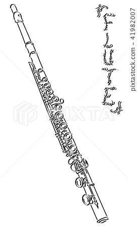 Vector abstract illustration drawing of flute. 41982007