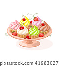 isolated plate with cupcakes and berries 41983027