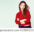 real caucasian woman with dreadlocks hairstyle funny cheerful fa 41984223