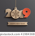 Modern Happy New Year 2019 paper design. 41984368