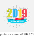 2019 Happy New Year card. 41984373
