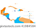 Map of Central America and Caribbean. Simlified schematic vector map in four color scheme 41984584
