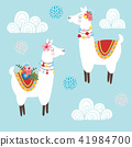 Cute hand drawn lama alpaca or guanaco with ornametal clouds and flowers. Tribal kids South American 41984700