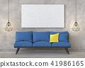 mock up poster frame in interior room , 3D render 41986165