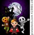 Halloween background with children in halloween 41988118