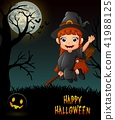 Cute little witch flying riding on broom in night  41988125