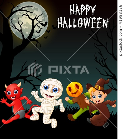 Happy halloween costumes with red devil, mummy 41988126