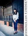 亚洲台湾台南新化大目降文化园区女性女人模特儿龙猫人像肖像 41989687