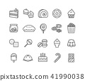Simple Set of Dessert vector thin line icons 41990038
