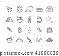 Simple Set of Fast food vector thin line icons 41990039