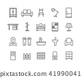 Simple Set of Furniture vector thin line icons 41990041